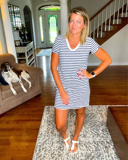 This striped dress is perfect for the 4th of July. It is TTS   The white Birkenstock sandals are the perfect summer sandal. They are TTS    http://liketk.it/3i95O     #liketkit @liketoknow.it #LTKunder50 #LTKshoecrush #LTKswim