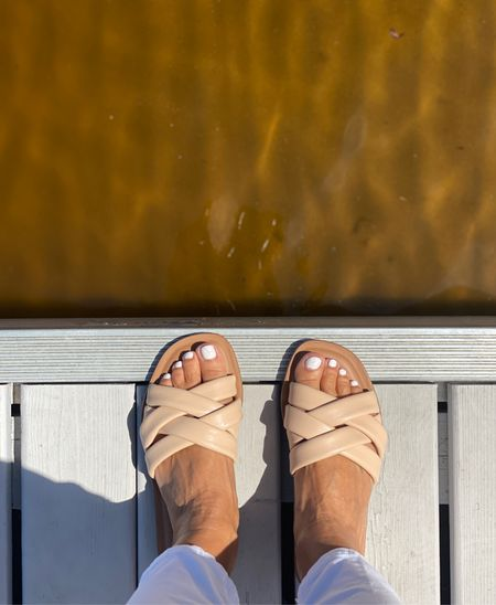 Summer dock vibes and the braided Summer Sandal in nude. This sandal is a summer outfit staple for sure! The nude color is always a good choice for those of us on the short side as it doesn't visually cut your foot in half. This nude braided flat sandal can be found online at Target. True to size. I'm wearing a size 6.  #kimbentley #summeroutfit  #LTKshoecrush #LTKstyletip #LTKSeasonal