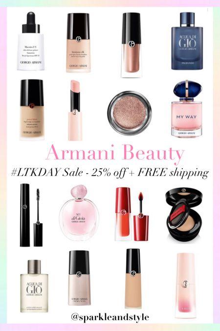 LTK Day Sale: Armani Beauty - 25% off and FREE shipping    http://liketk.it/3hvxQ @liketoknow.it #liketkit #LTKDay #LTKunder100 #LTKsalealert   Makeup, foundation, eyeshadow, skincare, perfume, cologne, mascara, lipsticks, primer, highlighter concealers, blush, women's perfume, men's perfume, Father's Day gifts,