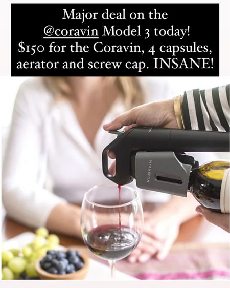 Major deal on the @coravin Model 3 today!  $150 for the Coravin, 4 capsules, aerator and screw cap. INSANE! If you're looking for the perfect gift for all the wine lovers in your life, this is it! http://liketk.it/309j6 @liketoknow.it #liketkit #LTKsalealert #winegifts #holidaygiftideas #coravin #wine #winelovers