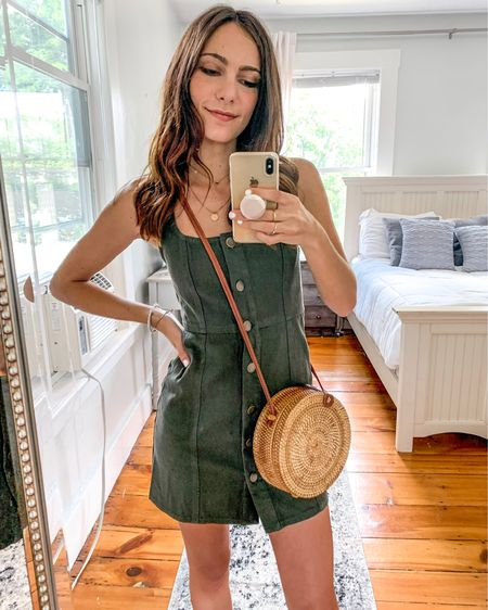 This green button up denim dress is the perfect casual dress for summer! If you're looking for a simple daytime outfit, check out this casual sundress under $25 http://liketk.it/2QVcd #liketkit @liketoknow.it #LTKspring #LTKunder50 #LTKunder100