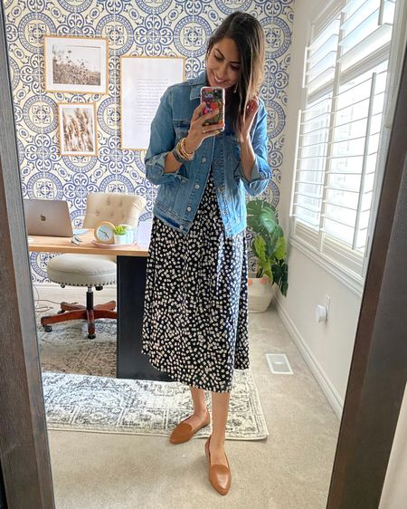A great summer to fall transition outfit - a midi dress layered with deni, and cognac loafers. Instant recipe to looking put together!   http://liketk.it/2Xn89 #liketkit @liketoknow.it