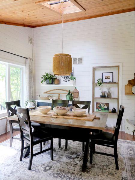 My dining room is complete with vintage decor, paper mache bowls and brand new built in shelves!   #LTKunder50 #LTKunder100 #LTKhome