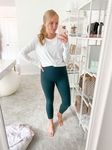 New colors in my favorite Spanx booth boost leggings! Wearing the emerald in a size medium. Use code AMANDAJOHNxSPANX for 10% off! The black booty boost leggings are still price matched from the Nordstrom Anniversary Sale too!   #spanxleggings #workoutleggings #leggings #ltkfit