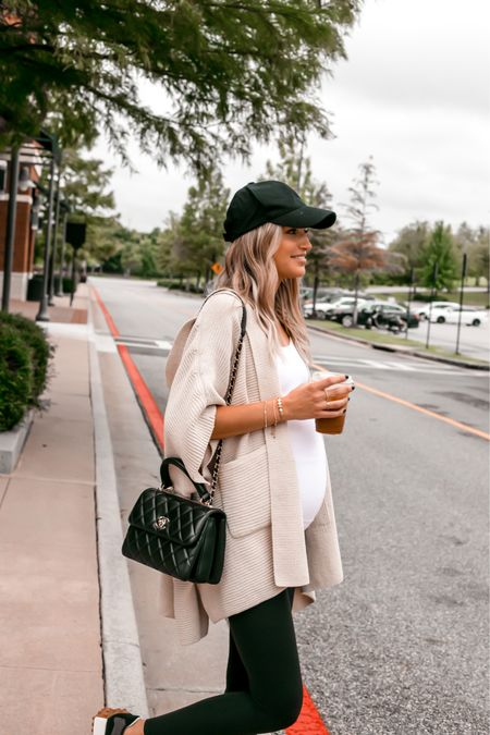 Cozy ribbed sweater poncho, maternity tank   #LTKbump #LTKstyletip #LTKunder100