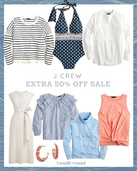 """J.Crew is having their """"end of the season"""" sale, even though there is plenty of summer left! All sale styles are currently an extra 50% off with code """"SALEONSALE"""". Tons of beautiful summer dresses, swimsuits, swimsuit cover-ups, shorts, sandals, blouses, pajamas, tank tops, sweatshirts and accessories - many of which I have featured in my previous """"Friday Favorites"""" posts. Many styles are final sale though, so just be aware of that!  @liketoknow.it #liketkit #LTKswim #LTKunder100 #LTKsalealert http://liketk.it/3jYLX  beach style, coastal accessories, summer accessories, preppy style, beach vacation outfits, summer fashion, resort style, resort wear, beach style, beach vacation accessories, summer dress, dresses on sale, cap sleeve dress, midi dress, sleeveless dress, dresses under 50, cotton dresses, sale dresses, dresses on sale, eyelet dress, linen dresses, summer earrings, hoop earrings, gold earrings, coral earrings, jcrew sale, j.crew sale, twist front tank, cotton tanks, cotton tank tops, funnel neck sweatshirt, summer sweatshirt, blue sweatshirt, slub knit, striped crewneck sweater, navy and white striped crew neck, crew neck sweater, summer sweater, gifts for her, blouses for work, work blouses, jcrew blouses, white blouses, white summer blouses, navy bathing suits, navy swimsuits, navy swimsuit, navy bathing suit, one piece swimsuit, swimsuit for mom, lined swimsuit, jcrew swimsuit, jcrew swimsuit, j.crew swimsuit, tie waist dress, linen shirtdress, jcrew shirtdress, dress with bow, cream dress, neutral dress, flax dress, tan dress, tan shirtdress, dresses for work, summer dresses for work"""