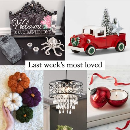 Last week's most loved in home: lots of holiday decor including both Halloween and Christmas!  - welcome to our haunted house wooden sign - Christmas truck decor piece - knit pumpkins in a variety of colors that would be perfect for thanksgiving - our kitchen hanging chandeliers - my favorite Christmas decoration from last year! ornament candles    #LTKunder50 #LTKHoliday #LTKhome