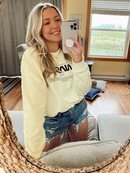 Sale on H&M online today! This sweater is so cozy & crazy affordable. Wearing M. Shorts are the perfect Jean short & fit TTS!   #LTKsalealert #LTKunder50 #LTKunder100