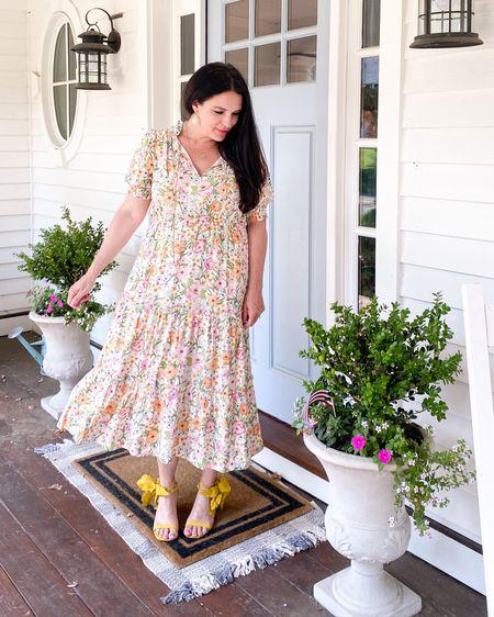 MIDI dress with puff sleeve, floral dress, who what wear dress, Cecelia New York hibiscus heels, Sunday best dress, spring dress, summer dress  http://liketk.it/3h4yr #liketkit @liketoknow.it #LTKunder50 #LTKshoecrush