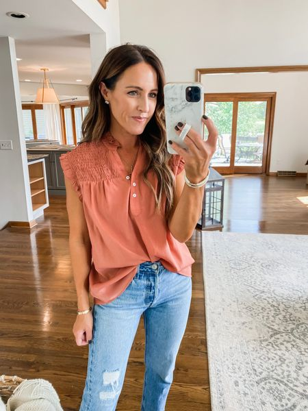Perfect Fall color! Rust, terracotta- do pretty. Smocked detailing, ruffles, & henley buttons.  @shop_avara - discount code: twopeas15  Small in blouse  #LTKSeasonal #LTKunder50