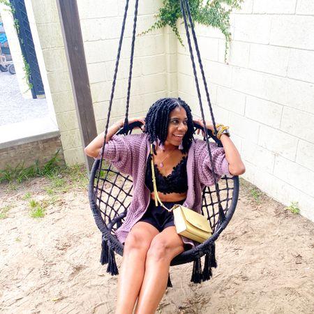 Black bralette + Black high waist shorts+ Purple cardigan + Gold bangles + Yellow Kate Spade purse http://liketk.it/3hw4l #liketkit @liketoknow.it #LTKstyletip #LTKunder100