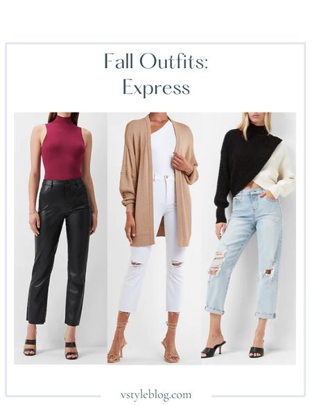 Fall outfits, Work wear, Teacher outfits, Airport outfit, Fall family photos, Mock neck bodysuit, Cardigan, Cropped sweater, Color block sweater, Boyfriend jeans, LTK Day Sale  Express  Body Contour Mock Neck Sleeveless Open Back Swearer Thong Bodysuit ($78) Mixed Stitch Balloon Sleeve Cardigan ($74) Color Block Wrap Front Mock Neck Sweater ($88) Mid Rise Ripped Rolled Hem Boyfriend Jeans ($88)  #LTKunder100 #LTKSeasonal #LTKSale