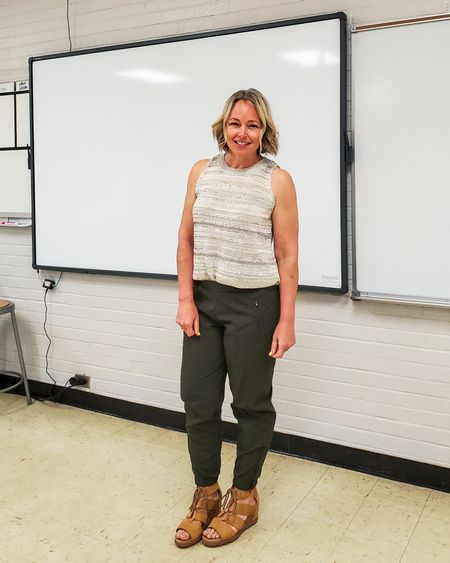 Casual everyday spring teacher outfit featuring a sweater tank, olive joggers, and Sorel wedge sandals #teacher #spring #summer #sweatertank #joggers #strappysandals #wedgesandals #oldnavy #petite #casual http://liketk.it/3fOy8 @liketoknow.it #liketkit