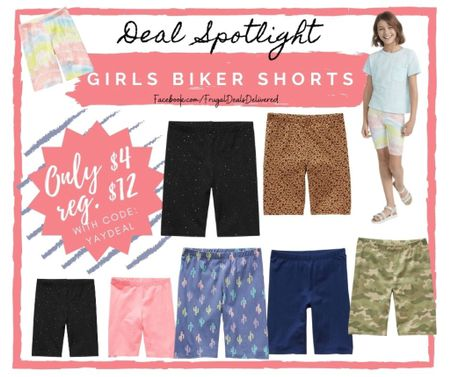 End of season sale back to school kids biker shorts - over 12 colors and sizes 4-16!! Toddler and big girls kids sizes! Stock up price and JCPenny! Love JCP! Run!    Screenshot this pic to get shoppable product details with the LIKEtoKNOW.it shopping app make sure you follow FrugalDealsDelivered for more ideas and collage inspiration!   #LTKfamily #LTKbacktoschool #LTKkids