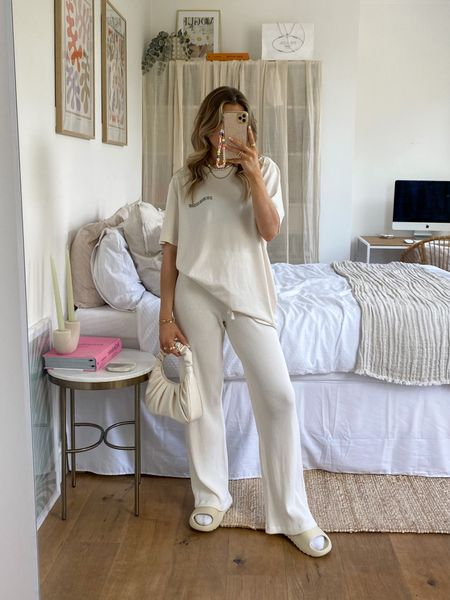Oversized t shirt teamed with a pair of wide leg trousers for a comfy casual look     #LTKeurope