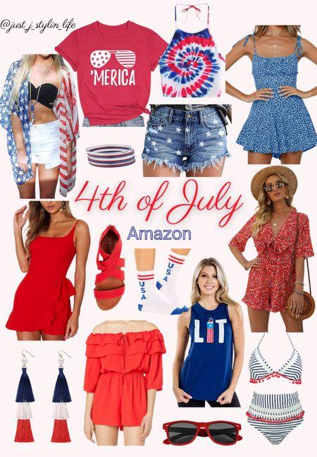 4th of July Amazon finds. Patriotic kimono, graphic tee, star denim shorts, blue dotted romper, red sandals, red romper, lit tee, pom pom bikini swimsuit, tassel earrings, red sunglasses. http://liketk.it/3hMOR @liketoknow.it #liketkit #LTKstyletip #LTKunder50 #LTKunder100 #LTKfamily #LTKswim