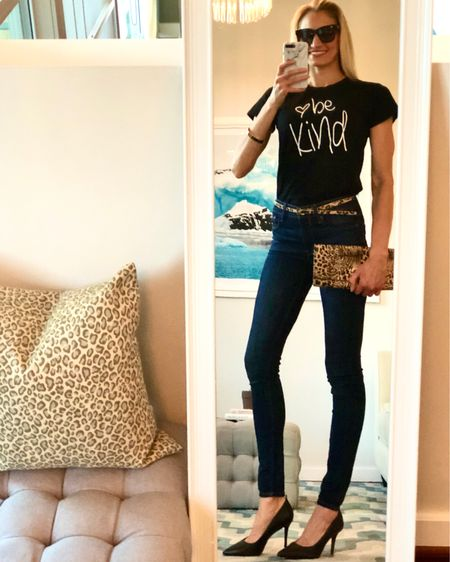 Be Kind ❤️ for everyone is fighting a battle that we know nothing about. This was today's #ootd-loving this $13 tee which also comes in pink and stays crisp dark black after washing! If you want to dress up jeans & a graphic tee-l, just add black pumps + a fun clutch for a chic look. Follow my account 'The Classy Woman' in the @liketoknow.it app OR use this link in your browser 👉🏻 http://liketk.it/2K5hU #liketkit #ootdmagazine #classicstyle #bekind #LTKunder25 #graphictee #ValentinesDay #casualstyle #theclassywoman