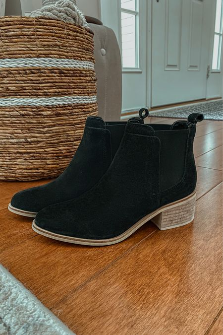 Loving these black leather / suede Chelsea boots I found at Nordstrom Rack. They are so comfy and slide on and off easily, which I appreciate being 9 months pregnant. They're under $70 and currently stocked so click to shop!   black booties, women's booties, casual booties, casual boots for women   #LTKshoecrush #LTKSeasonal #LTKunder100