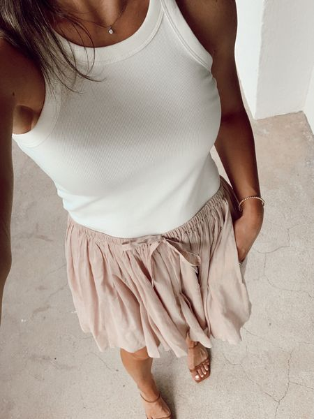 Date night outfit! Top and skirt fit tts. Wearing small in both. Beach look summer outfit summer style nude heels summer sandals revolve   #LTKstyletip #LTKshoecrush #LTKunder50