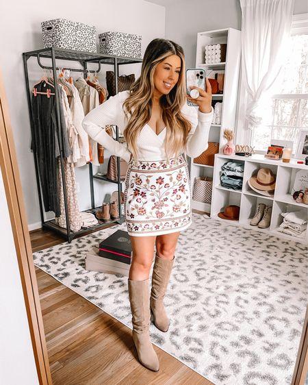 Fall Skirt outfit from francescas!  Embroidered skirt, knee boots, wrap sweater   #LTKbacktoschool #LTKunder100 #LTKSeasonal