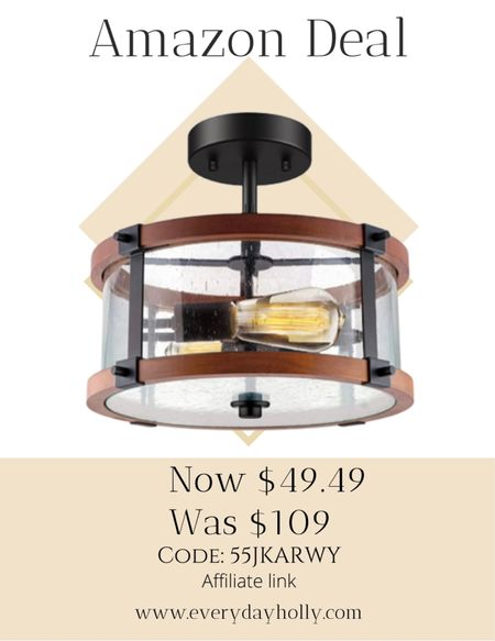 Amazon deal! 55% off! Rustic Vintage Wood Ceiling Light Fixture Changing some thing as simple as your lighting can make a huge difference in a room! 55% off Code: 55JKARWY    #LTKhome #LTKunder50 #LTKsalealert