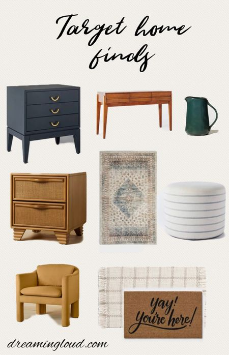 Target home finds, fall home finds, affordable furniture, bedside table, console table, ottoman, entrance console table, door mat   #LTKhome #LTKSeasonal
