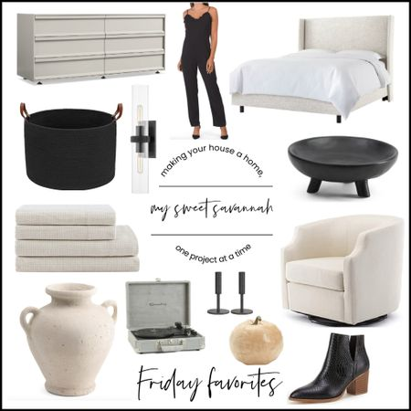 This weeks Friday favorites!  Looking for a great swivel chair? Affordable linen upholstered bed? I've even got some great gift ideas to get a head start on your holiday shopping. Restoration Hardware dupe sconces, a fun jumpsuit, and lots of home decor + cozy flannel sheets! It's all here!   #LTKstyletip #LTKsalealert #LTKhome