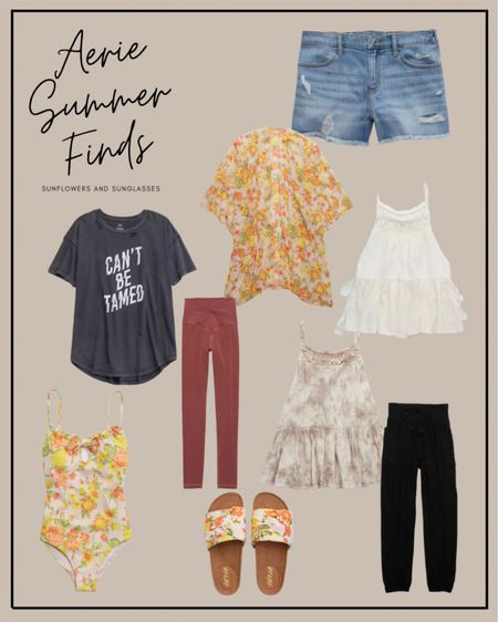 Aerie Summer Fashion - I love these two flowy, boho tanks! Plus the floral pattern on this kimono, one-piece swimsuit and slides is so cute! A lot of these items are currently on sale!  #LTKsalealert #LTKSeasonal #LTKunder50