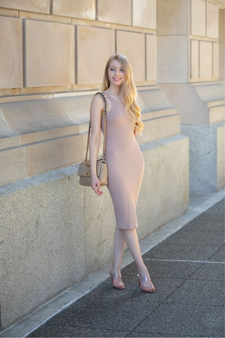 Nude neutral bodycon knit dress for spring and summer  Paired with Chanel 19 small in dark beige and Christian louboutin just nothing pvc clear heels. Dupe linked.    #LTKstyletip #LTKunder100 #LTKSeasonal