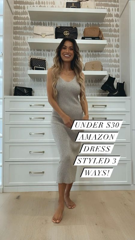 Girly!!! Happy to share!! Amazon dress less than $30 & available for pre-order!!! It's one size and has lots of stretch. I got the color khaki! I'm 5'6 for reference. I love how classy & comfy it is!!! Great for now in the summer and with booties for the fall! My shoes run true to size! I got a medium in the hat! Love getting to shop with you virtually gf!!😍🥰❤️ Biggest hugs your beautiful way!!!! Xo!!!!  #LTKsalealert #LTKunder100 #LTKunder50