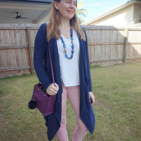 These pink leopard print jeans are so good for spring! 💕 Also love how well they pair with blue and purple! With the navy cardigan and necklace the little purple Rebecca Minkoff mini MAB tote bag was a fun third colour to add to my outfit 💜 good way to brighten up a plain white tee!  Not the outfit I'd planned to wear as it was an unexpectedly colder spring day when I wore this the other week but it came together nicely all the same when I switched to this cosier cardigan instead of the lighter one I'd planned to wear.   ----------------- ------------------ --------------------------- ------------- ---------------------  Screenshot this pic to shop the product details from the @liketoknow.it app, or click here: http://liketk.it/3nYeq #liketkit #LTKaustralia #LTKitbag #RebeccaMinkoff #myRm #everythingLooksBetterWithABag #everydaystyle #realeverydaystyle #wearedonthestreet #realmumstyle #nevervainalwayscolour #mumlife #Springstyle #jeansandtee