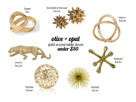 Gold accessories, gold objects, gold home decor, shelf accessories, table accessories  These affordable gold accessories are great for shelf styling and to stack on coffee table books!  #LTKunder100 #LTKhome