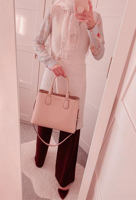 Modest workwear! Boucle / tweed dress with wide leg trousers! Pink handbag 👜   http://liketk.it/39u1R @liketoknow.it #liketkit   #LTKSeasonal #LTKstyletip #LTKeurope