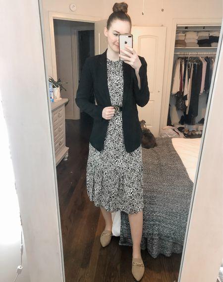 Business casual, wear to work, office wear, work wear, Midi dress, dress with blazer, blazer over dress, leopard midi dress  #LTKworkwear