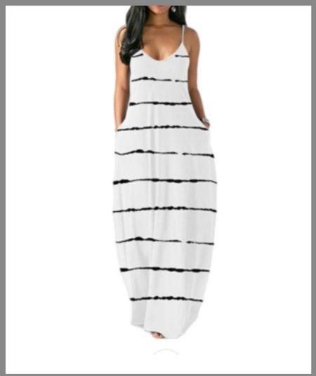 Sleveless long maxi dress from Walmart.  striped dress, white dress, long dress  #LTKSeasonal #LTKunder50 #LTKunder100