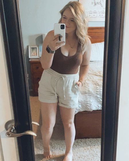 Linen shorts outfit, shein bodysuit, $8 body suit, old navy finds, shein finds, amazon finds, Apple Watch band, neutral outfits, linen shorts, comfy bodysuit.   http://liketk.it/3in4U #liketkit #LTKstyletip #LTKsalealert #ltkseasonal #ltksummer @liketoknow.it