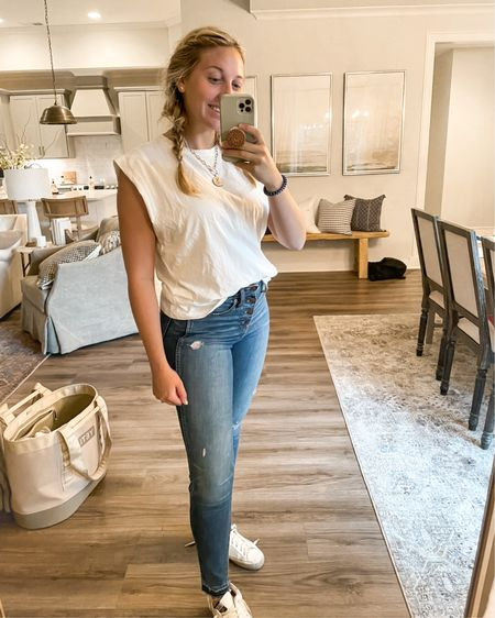 Jeans, sneaker and a white tee. I'm in love. Target white top is $10. My favorite madewell jeans are under $100. I'm in the size 27. http://liketk.it/3j97d #liketkit @liketoknow.it