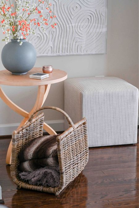 Side table, ottoman, Target find, crate and barrel, baskets, vases, studio McGee, living room decor, home decor, log holder    #LTKHoliday #LTKSeasonal #LTKhome