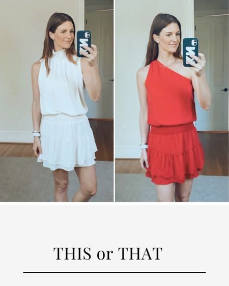 Part dress, summer dress, white dress, ruffle, gala, this or that, finding beauty mom, one shoulder dress http://liketk.it/3hfLj #liketkit @liketoknow.it #LTKtravel #LTKstyletip