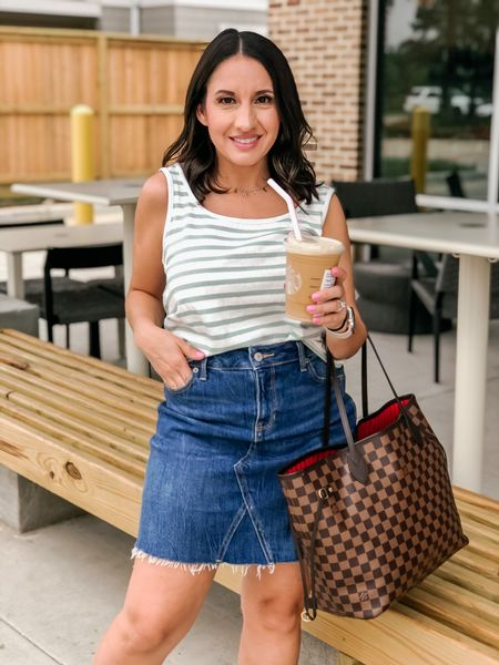 Madewell stripe tank top is on sale for $20 plus an extra 20% off today. It runs tts. Jean skirt runs tts.   #LTKunder50 #LTKSale #LTKsalealert