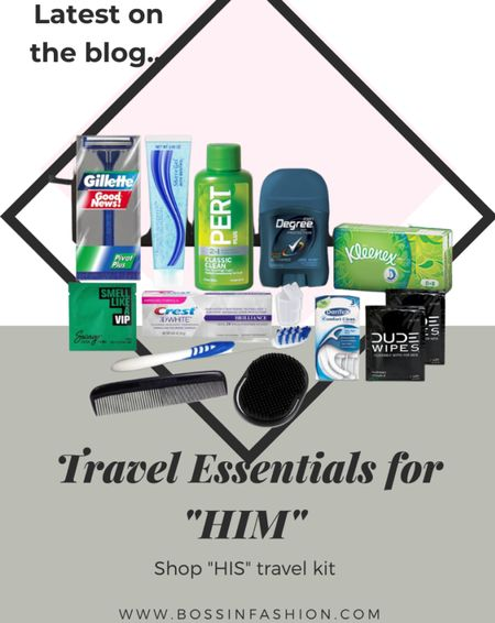 The best travel essentials for him going on a trip! I love mini vacation products! #vacationessentials #vacationtrip #toiletries #mantraveling #traveling #travelbag #minibag    #LTKunder50 #LTKtravel