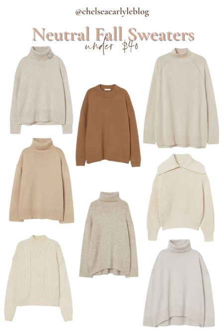 Shop neutral fall sweaters under $40. Perfect for transitioning into fall.  | fall outfit | outfit inspiration | affordable style | affordable oufits | affordable denim | jeans | denim dress | fall dress | fall wedding guest dress | trench coat | coat | jacket | neutral style | sweaters | knits | boots | Chelsea boots | button down | fall layers | hm | h&m |    #LTKunder50 #LTKSeasonal #LTKstyletip