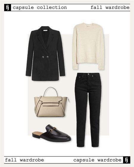 Fall capsule wardrobe, black blazer, black jeans, Gucci mules, business casual, #falloutfits #sweaters #capsulewardrobe   #LTKsalealert #LTKshoecrush #LTKstyletip