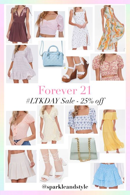 LTK Day Sale: Forever 21 - 25% off   http://liketk.it/3hvy9 @liketoknow.it #liketkit #LTKDay #LTKunder50 #LTKsalealert   Summer fashion, summer styles, summer dresses, summer clothes, summer tops, summer shoes, summer skirts, summer purses, wedding guest dress, summer bags, quilted purse, gingham top, puff sleeve top, crop top, midi dress, watercolor pleated halter neck maxi dress, dolly dress, white wedges, floral top, polka dot bodysuit top, floral wrap dress, yellow off the shoulder tiered dress, tiered ruffle dress, tennis pleated skirt, braided block tie up heels, blue floral mini skirt