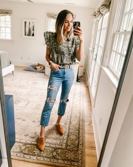 What I wore for a BBQ this weekend, green floral ruffle top, mom jeans and mules http://liketk.it/3ix1E #liketkit @liketoknow.it #LTKshoecrush #LTKstyletip #LTKworkwear