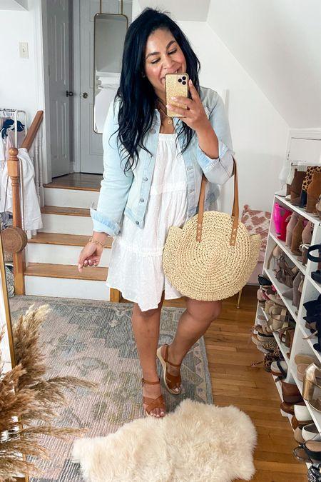 LOFT dress is on sale wearing an XL! Walmart fashion denim jacket is only $19, wearing a L #liketkit http://liketk.it/3gN6t  @liketoknow.it #LTKcurves #LTKunder50 #LTKsalealert    size 12, size 14, white dress, wedges, Jean jacket, denim jacket, eyelet dress, straw purse, midsize, mid size, plus size, summer outfit idea, vacation outfit, beach outfit