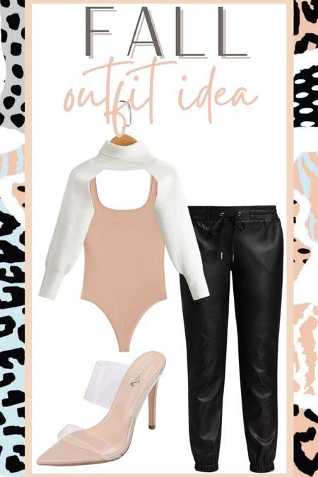 Fall outfit idea Leather joggers outfit   #LTKunder100 #LTKstyletip #LTKsalealert
