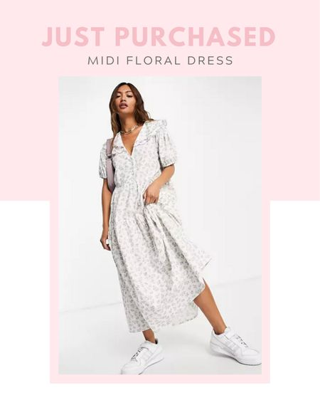 Just purchased: Neon Rose midi smock dress with puff sleeves and vintage embroidered collar in ditsy floral, spring / summer, fall / winter, casual outfit, comfy clothes, floral print,   #LTKunder100 #LTKSeasonal #LTKstyletip