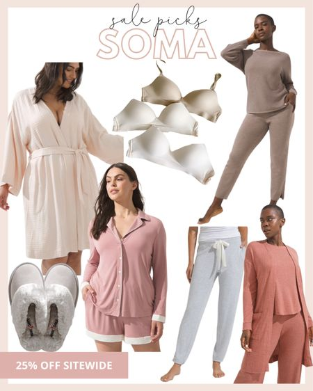 Soma has the best cozy pajamas, my favorite wireless bra, which is $29 right now and the best robes!   #LTKDay #LTKSale #LTKunder100