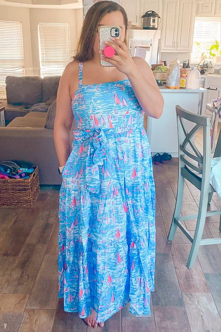 Lilly Pulitzer summer dress maxi dress 4th of July outfit red white and blue travel dress beach outfit preppy   #LTKSeasonal #LTKtravel #LTKswim